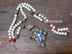 Antique Bavarian Rosary Sterling Silver Filigree Enamel Cross Opalin Bead Christianity photo