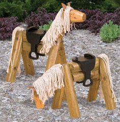Ted's Woodworking Plans - Landscape Timber Horse Woodworking Plan Turn inexpensive Landscape Timbers, thick wood and a little rope into this Decorative Yard Art! Get A Lifetime Of Project Ideas & Inspiration! Step By Step Woodworking Plans Kids Woodworking Projects, Scrap Wood Projects, Teds Woodworking, Art Projects, Woodworking Furniture, Woodworking Patterns, Garden Projects, Woodworking Horse, Woodworking Articles