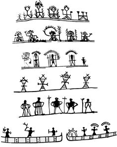 Shamanic Sámi symbols, the second row up depicts the land of the dead.