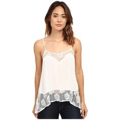 Volcom Nowhere Fast Top Women's Sleeveless ($45) ❤ liked on Polyvore featuring tops, lace trim tank, scoop neck tank, spaghetti strap tank top, drape top and sleeveless tops