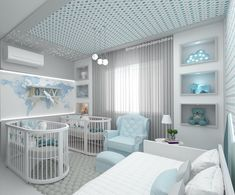 Baby Cribs For Twins, Twin Baby Rooms, Nursery Twins, Baby Bedroom, Baby Girl Room Decor, Baby Room Themes, Baby Room Design, Baby Decor, Luxury Nursery