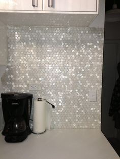 Great for my closet!! White Hexagon Pearl Shell Tile backsplash: Found at https://www.subwaytileoutlet.com/