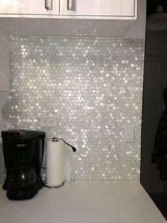 White Hexagon Pearl Shell Tile backsplash
