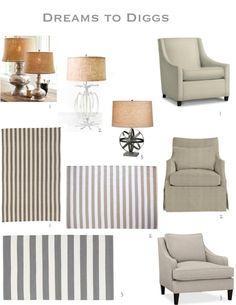 lamps, reading chair, stripe carpet