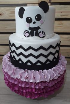 bolo panda fake #bolopanda #panda #festadobanda #decoracaodepanda #festabandarosa Panda Themed Party, Bolo Panda, Bolo Fake, Party Themes, Birthday Cake, Cakes, Desserts, Food, Panda Birthday Party