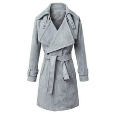 Fashionable Solid Color Turn-Down Collar Belted Thick Velvet Trench Coat For Women #jewelry, #women, #men, #hats, #watches, #belts