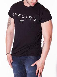Tricou barbati Spectre 007 cu guler rotund negru