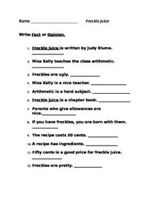 Worksheets Freckle Juice Worksheets is it a fact or an opinion the facts worksheets and worksheet for students to practice their knowledge of opinions after book study