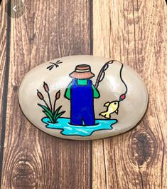 Father's Day Rock Painted Stone, Fisherman Paperweight, Father's day Gift, Fishing Lover, Hand Painted Rock Pebble Painting, Pebble Art, Stone Painting, Diy Painting, Rock Painting Patterns, Rock Painting Ideas Easy, Rock Painting Designs, Painted River Rocks, Hand Painted Rocks