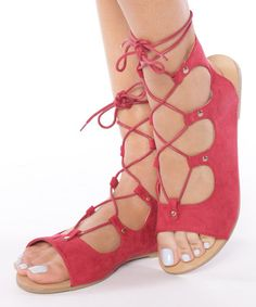 Loving this Red Galaxy Lace-Up Sandal on #zulily! #zulilyfinds