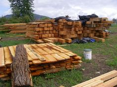 Beams and lumber made from trees removed from Green Emerald Estates building site - will be used in the construction of on-site dream homes #GreenEmeralEstates  #GreenEmeraldInc  #SalmonArmViewLots  #BCBuildingLots  #LotsForSale  #BuildingLotsForSale #ViewLots  #DreamHome #CustomHomes #SalmonArm #Shuswap  www.greenemeraldinc.com Lots For Sale, Emerald Green, Dream Homes, Custom Homes, Firewood, Beams, Trees, Construction, Building