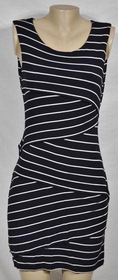 CALVIN KLEIN Black Ivory Stripe Diagonal Tier Sleeveless Stretch Jersey Dress 8 #CalvinKlein #SheathDress #Casual