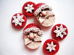 Button Rustic Folkart Santas handmade polymer by digitsdesigns