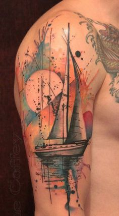 watercolor style boat tattoo - 40 Boat Tattoo Designs <3 <3