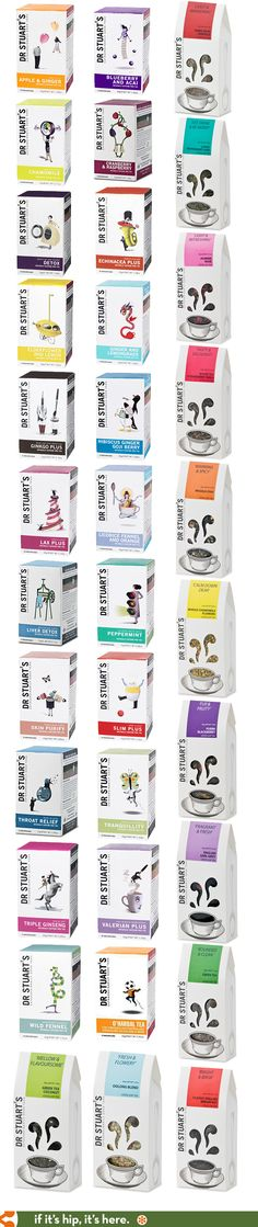 All of the charming packaging (boxes of teabags and bags of loose tea) for Dr…