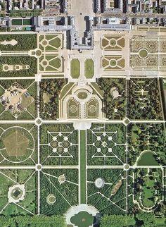 Fotografia aerea de los jardines de Versalles