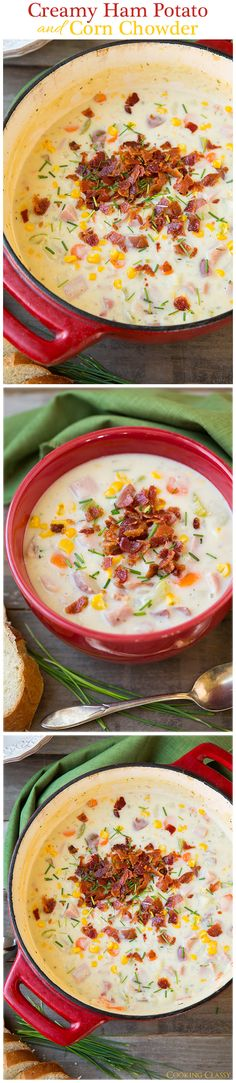 Creamy Ham Potato and Corn Chowder - This is the best potato soup I've ever had! Definitely my new favorite potato soup, loaded with so much goodness! This is my go to soup when I want homemade. I Love Food, Good Food, Yummy Food, Healthy Food, Best Potato Soup, Soup And Sandwich, Gumbo, Soups And Stews, Goulash