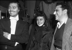 Gable, Vivien Leigh & Selznick on set of GWTW