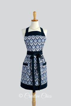 Full Bib Womens Apron  Vintage Style Indigo Navy by CreativeChics, $40.00