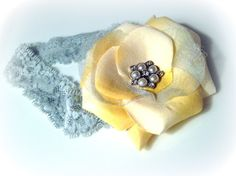 Yellow Flower on Grey Lace Headband with Pearls by frillsandfuss, $8.00