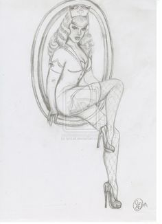 Sexy nurse pin up for tattoo - by lynzall #tribaltattoos - See more tattoos designs at Stylendesigns.com!