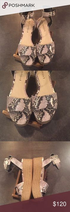 Via Spiga Snake Skin Platform Sandals Originally purchased from Nordstrom. Worn two times. Very nice high end leather shoes.   Perfect with a dress, shorts, or capris.   Nothing wrong with them, perfect condition.   Checkout the rest of my shop! Via Spiga Shoes Platforms