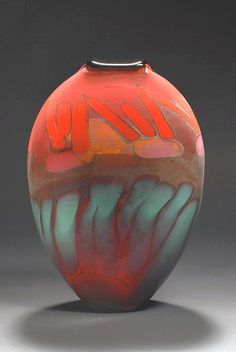 Fire Series Oval Vase: Steven Main: Art Glass Vase - Artful Home
