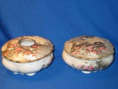 "Nichi Hon ""Nippon"" Hair Receiver & Dresser Jar Bird and Cherry Blossam (Japan)"