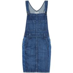 Current/Elliott The Carpenter overall dress (150 BGN) ❤ liked on Polyvore featuring dresses, overalls, indigo, current elliott dress, indigo blue dress, blue dress and indigo dress