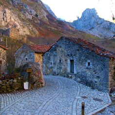 Sotres village in Bulnes Parish, Cabralies, Asturias, Spain