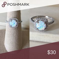 Sterling Silver Fire Opal Halo Ring Condition: New Metal: Stamped .925 Sterling Silver Stone: Lab Opal & Cubic Zirconia   Will come in a gift box.  Reasonable offers accepted! Please ask any questions you have ☺️  -Sterling Silver Ring Women's Jewelry Rings New Promise Ring Engagement Gift Anniversary- Jewelry Rings
