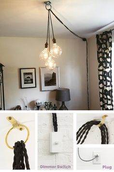 This Plug In Pendant Lights Unique Chandelier PLUG IN Modern Hanging Pendant Lamp Industrial lighting unique ceiling Fixture Antique or LED Bulbs is just one of the custom, handmade pieces you'll find in our pendant lights shops. Plug In Hanging Light, Plug In Chandelier, Plug In Pendant Light, Pendant Lighting Bedroom, Hanging Light Fixtures, Hanging Pendants, Living Room Lighting, Modern Chandelier, Hanging Lights
