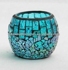 Handmade Colourful Ball-shaped Glass Mosaic Candle Holder