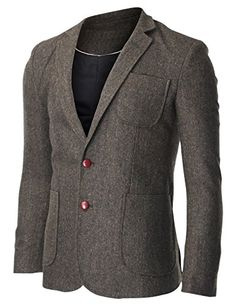 FLATSEVEN Men's Herringbone Tweed Sport Coat Wool Blazer Jacket with Elbow Patches (BJ426) Khaki, Boys L #FLATSEVEN #Men #Clothing #Fashion #Jacket #blazer #trends #hot