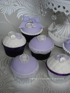 button, cameo & ribbon cupcakes by Darcy's Cupcake Creations, purple Fancy Cupcakes, Pretty Cupcakes, Beautiful Cupcakes, Baking Cupcakes, Yummy Cupcakes, Wedding Cupcakes, Cupcake Cookies, Cupcake Recipes, Cupcake Fondant