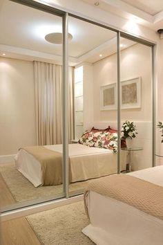 34 Ideias incríveis para decorar quartos pequenos #quarto #quartocasal #espelho