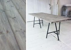 Translated site - Amazing table easily made from wood planks & driftwood stain. This is definitely the latest & top contender for our kitchen table!