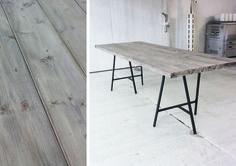 Idé till stort bord. Bockar från IKEA. Kan funka utomhus med grova ekplank med glipor mellan.