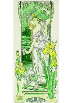 Élisabeth SONREL (1874-1953) « Le Printemps ». Lithographie.