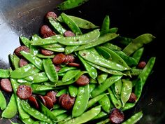 Stir Fried Snow Peas with Chinese Sausage | Serious Eats : Recipes