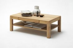 Couchtisch Lenor in Kernbuche oder Eiche Bianco zeitlose Möbelserie Massivholz 1 x Couchtisch Massivholztisch mit 1 Schubkasten und 1 Ablageb  oden Maße:...