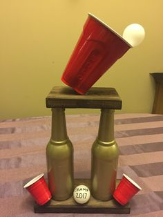 Beer pong trophy that I made for my White Trash Birthday Bash