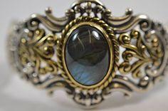 Carolyn Pollack Relios Labradorite Gemstone Cuff Bracelet QVC Sterling Silver #CarolynPollack #Cuff