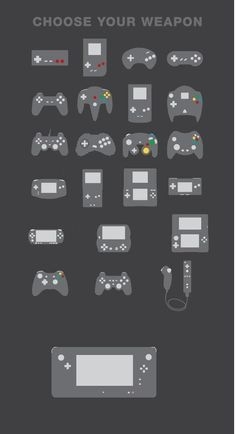 From Left to Right: NES, Gameboy, Genesis, SNES, PSX, N64, Gameboy Color, Dreamcast, PS2, Sega Saturn, Gamecube, Xbox, Gameboy Advance, Gameboy Advance SP, Nintendo DS, Gameboy Micro, PSP, PSP-Go, Nintendo 3DS, Xbox 360, PS3, Wii, and Wii U. Edited and Arranged by Andrew Perry