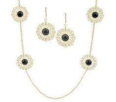 Round Filigree Station Necklace & Earring Set by Garold Miller