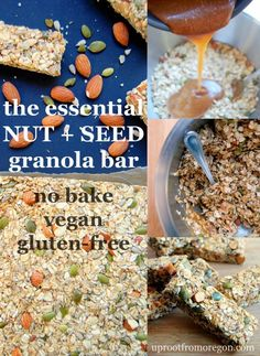 The Essential Nut and Seed Granola Bar, a no-bake recipe that takes 20 minutes to throw together for snacks for the week! Vegan and gluten-free | uprootfromoregon.com: