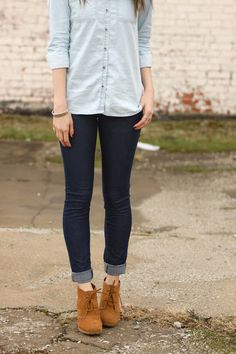 Dark wash skinny jeans, light wash denim button up shirt, cute tan booties. Casual spring/fall outfit.