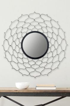 """Features: -Material: Iron / MDF. -Black finish. Shape: -Round. Style: -Contemporary. Mirror Type: -Accent. Orientation: -Both. Dimensions: Overall Height - Top to Bottom: -36"""". Overall Width -"""
