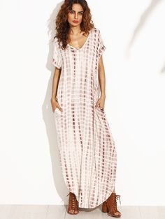 Coffee Tie Dye Print Split Curved Hem Maxi Dress online. $19  SheIn