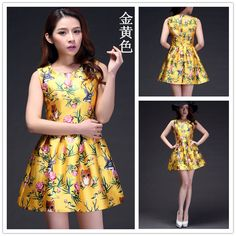 The New Yellow Sleeveless Print Dress And Long Sections